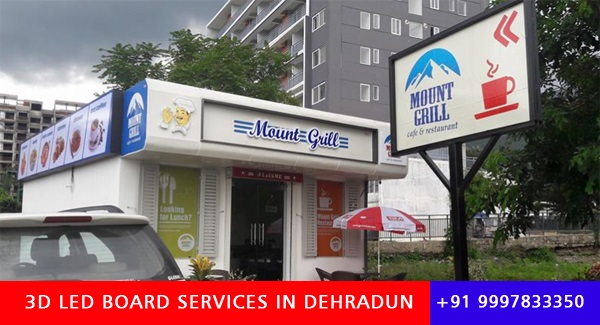 Glow Sign Board, 3D Letters and LED Board and Signs Designed for Mount Grill Restaurant Dehradun