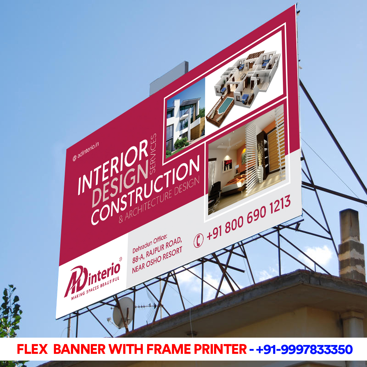 Flex Banner with Frame for AD-Interio Dehradun