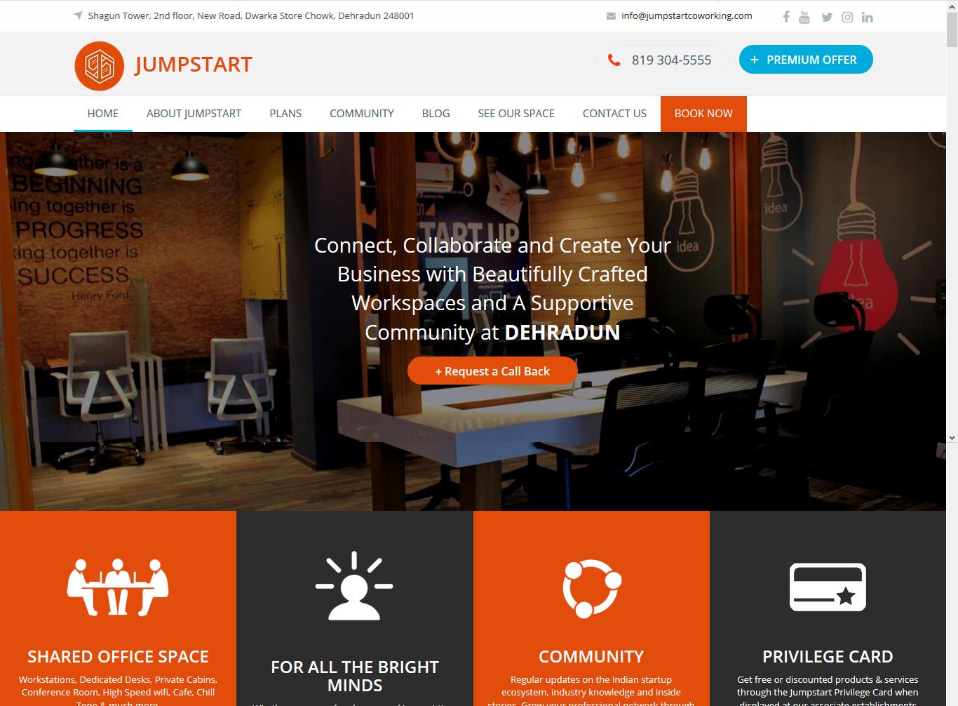 Website Designed for Jumpstart Coworking Space Dehradun