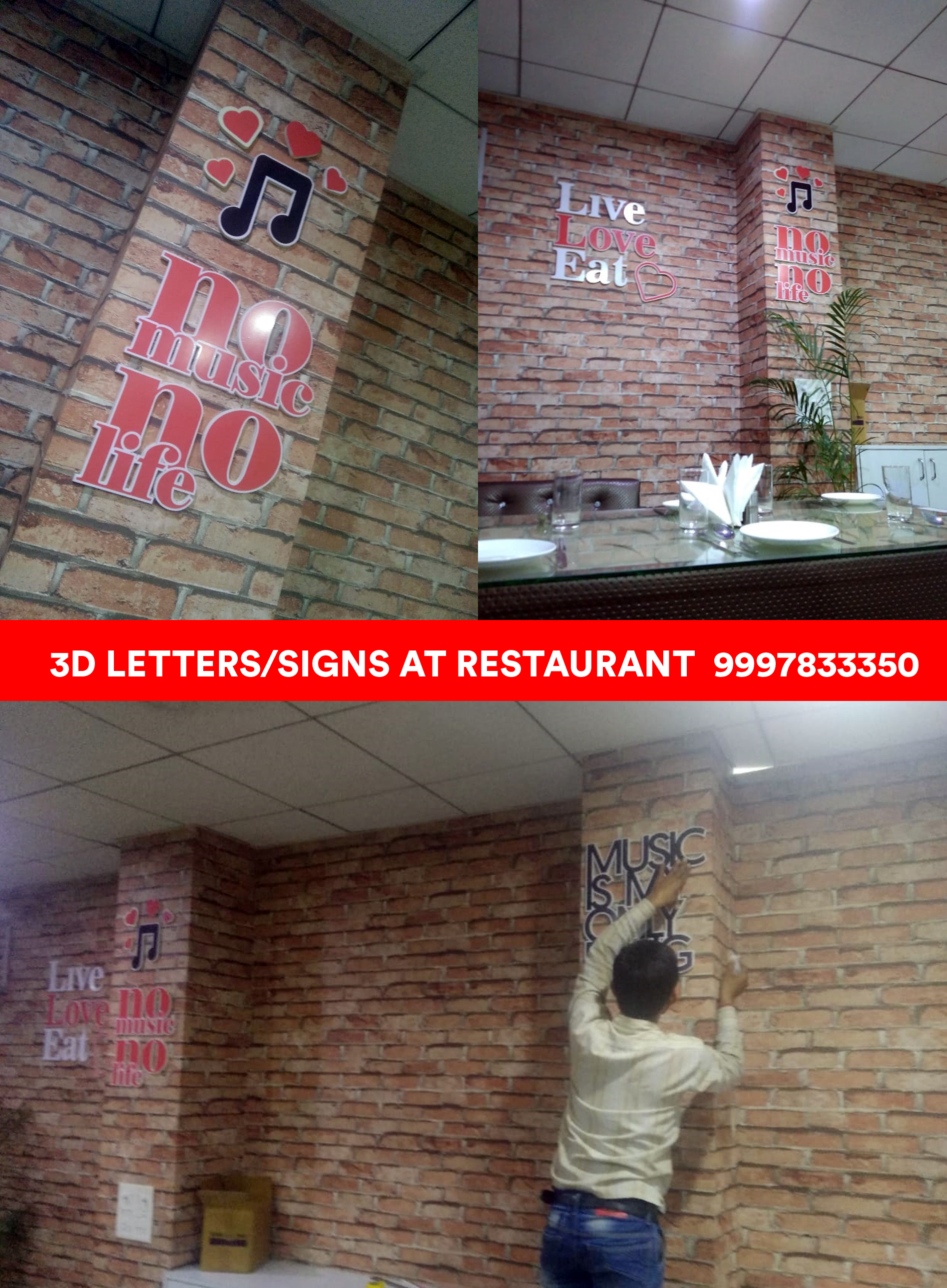 3D Letters Signs at Wall of Restaurant