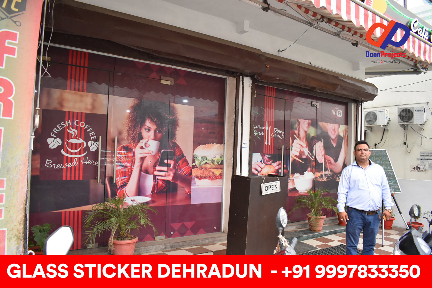 See Through Glass Sticker Designed and Pasted on Dehradun Based Restaurant located at Hathibarkala