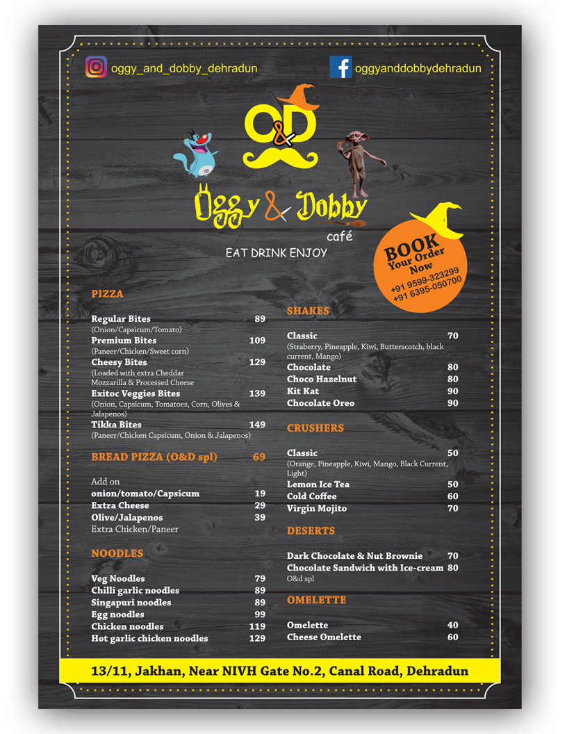 Take Away Menu Designed for Oggy & Dobby Restaurant Dehradun