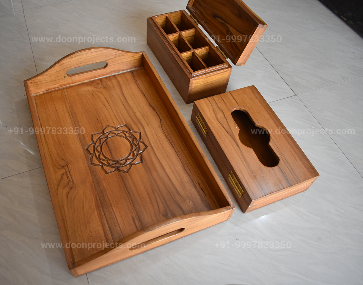 Engraved Hotel Room Serving Tray with Tissue Box and Sachet Holder Box (1)