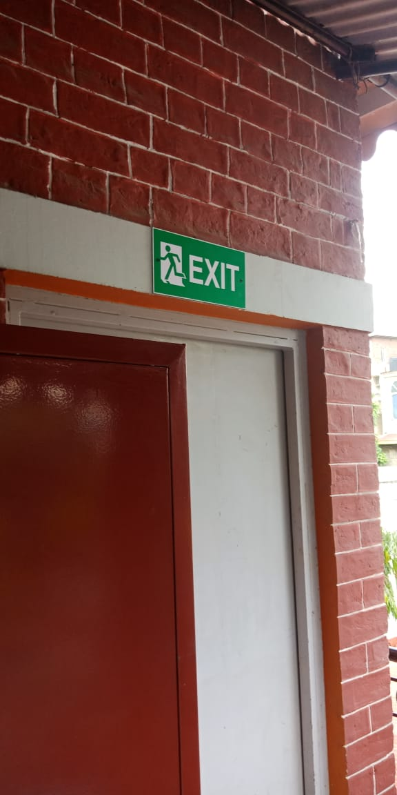Exit ACP Plate fixed over door at Sherwood School Dehradun