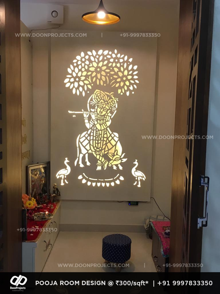 Pooja Room Krishna Design with LED Strip