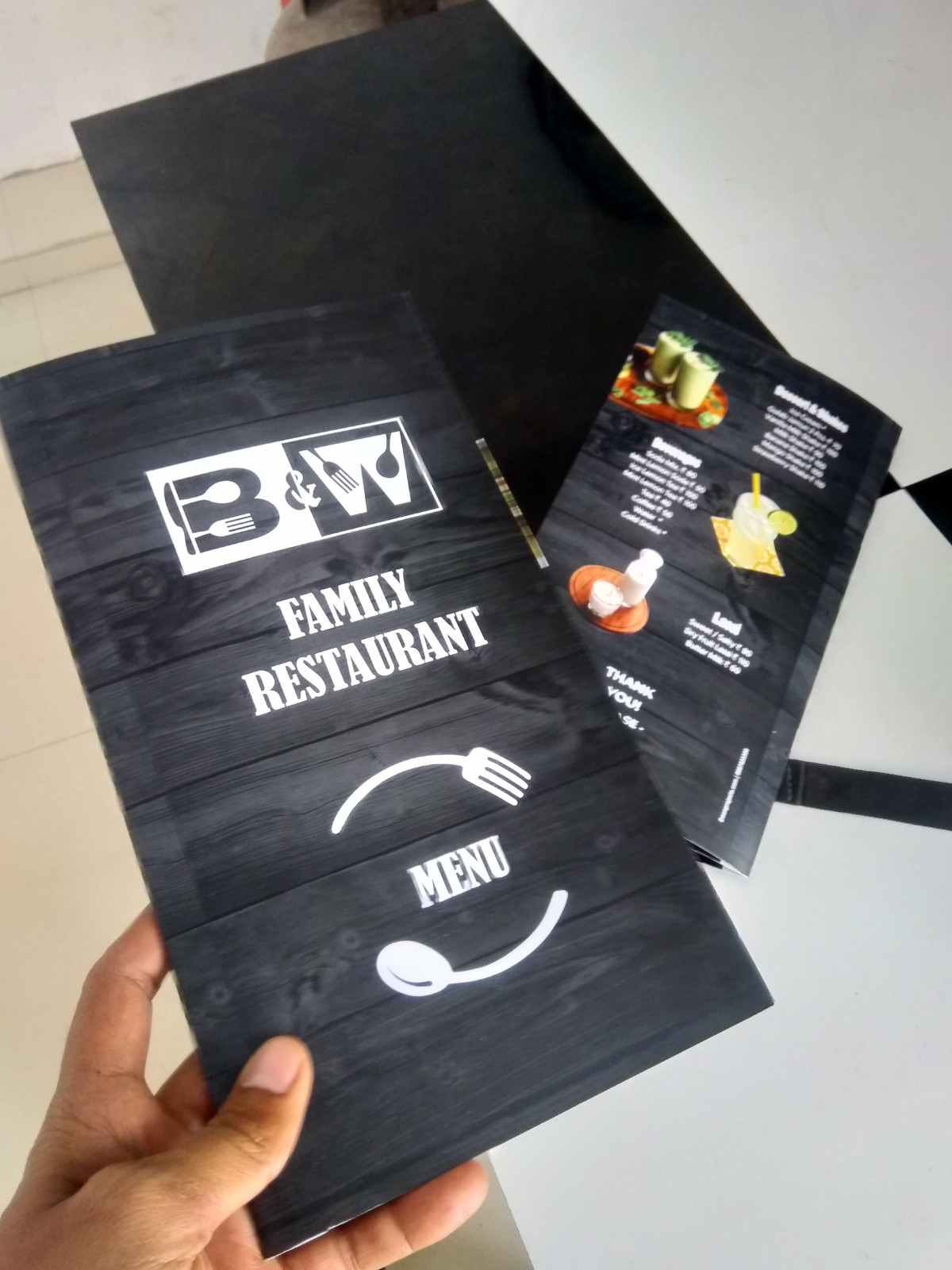 Menu Card Designed for Black & White Restaurant
