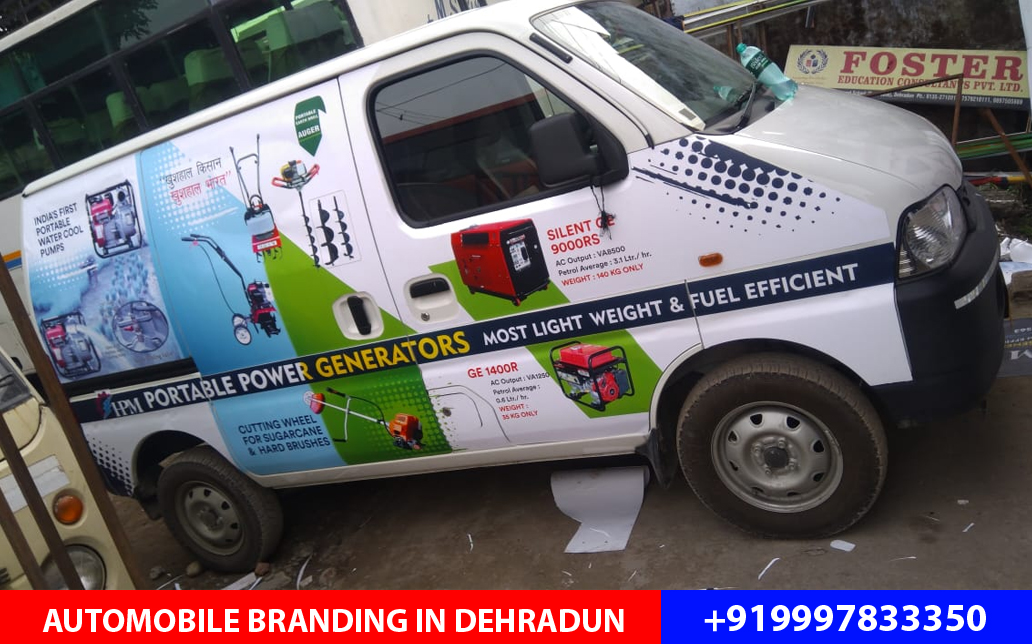Eco Van branding done for Himalayan Power Machines located at Dalanwala Dehradun with Eco Printed vinyl.
