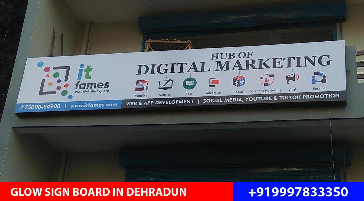Glow Sign Board designed and installed for IT Faces an IT Institute located on Raipur Road, Dehradun.
