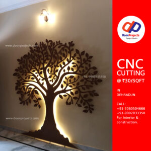 MDF 18mm with Cutting ₹85 per sqft & Polish work ₹110 per sqft has been done on this tree. Light is Phillips Rope Light - ₹120/metre. Total Costing ₹300 per sqft