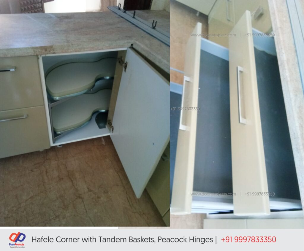 Complete Modular Kitchen with Hettich, Hafele and Peacock Fittings