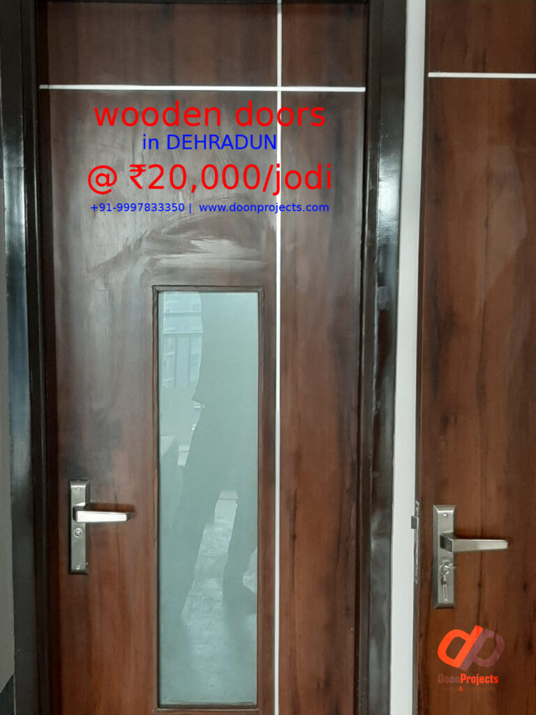 Teakwood Door with Polish and Glass