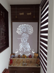 4ft Width and 9 ft Height Costing Rs. 30,000/- Material: HDHMR 16.75mm, Laminate SF Wooden, Jali 12mm WPC Alex
