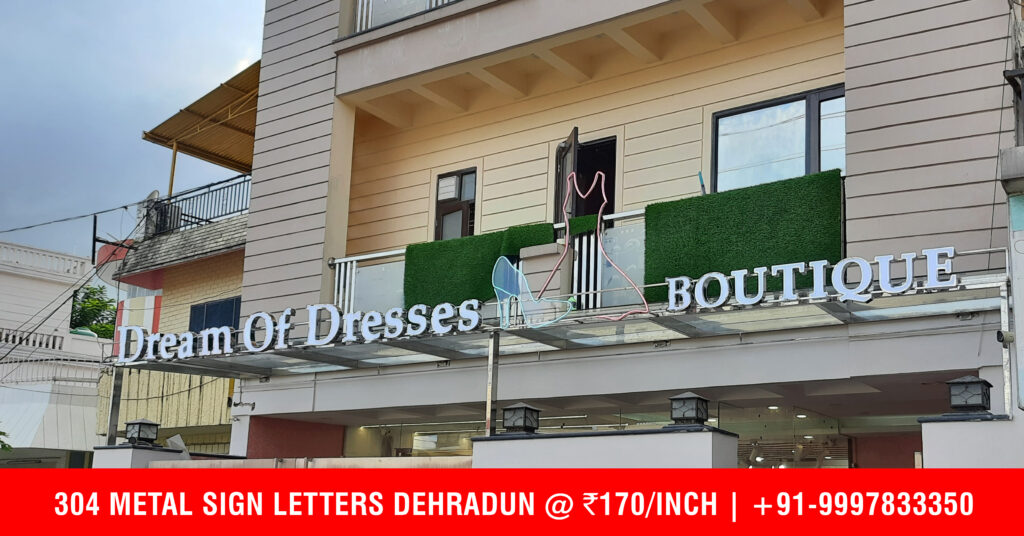 Collar Steel Letters with Neon Sign Strip has been installed at Chakrata Road Based Boutique in Dehradun